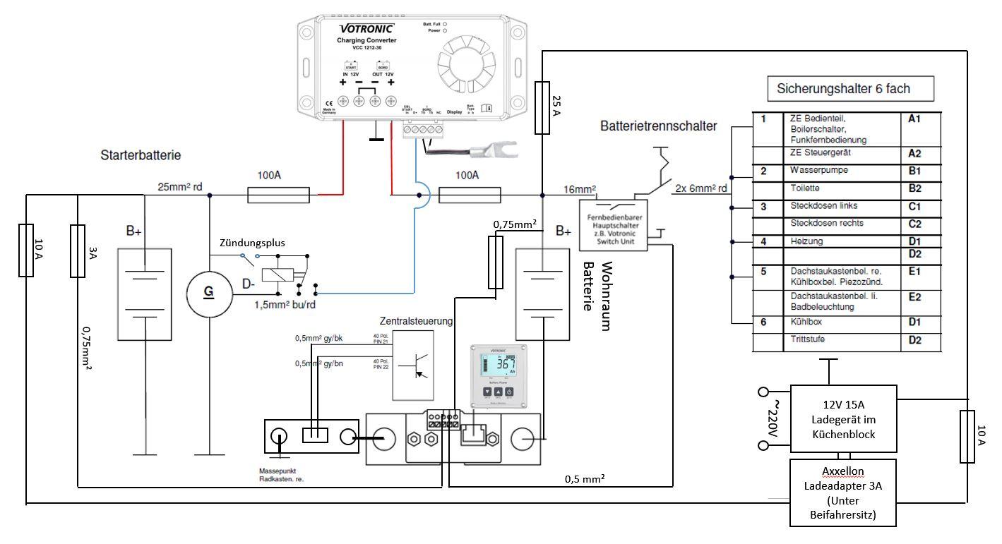 Schaltplan Elektrik Smart Shunt Ladewandler Westfalia Columbus 540d ohne Trennrelais