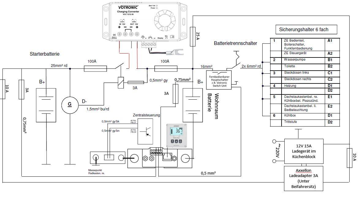 Schaltplan Zentralelektronik Westfalia Columbus 540d Votronic Batteriecomputer Hauptschalter Switch Unit Ladewandler(Booster)